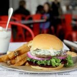 A burger and shake from a restaurant in downtown Raleigh.