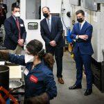 U.S. Transportation Secretary Pete Buttigieg and U.S. first gentleman Doug Emhoff visit facilities on NCState's Centennial Campus.