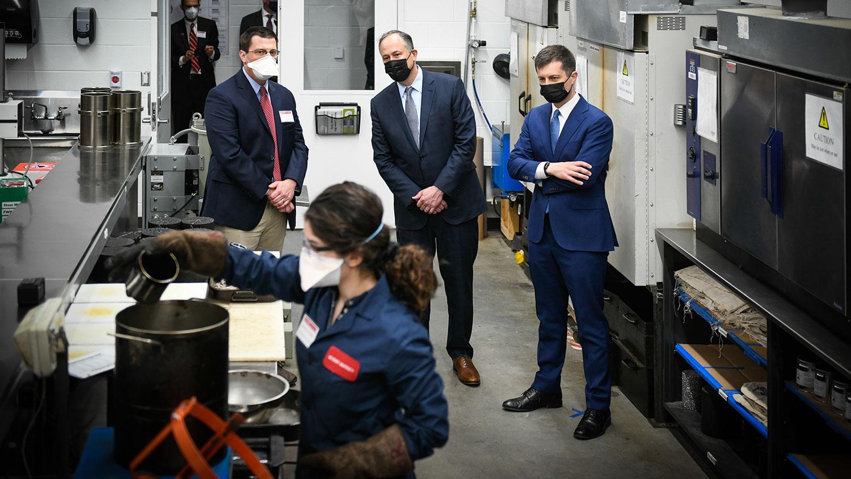 U.S. Transportation Secretary Pete Buttigieg and U.S. first gentleman Doug Emhoff visit facilities on NC State's Centennial Campus.