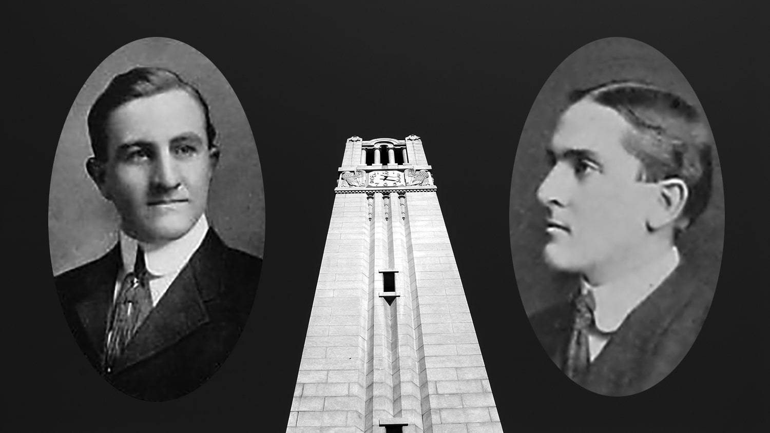 Archival photos of alumni Vance Sykes and Frank Thompson set against an image of the Belltower.