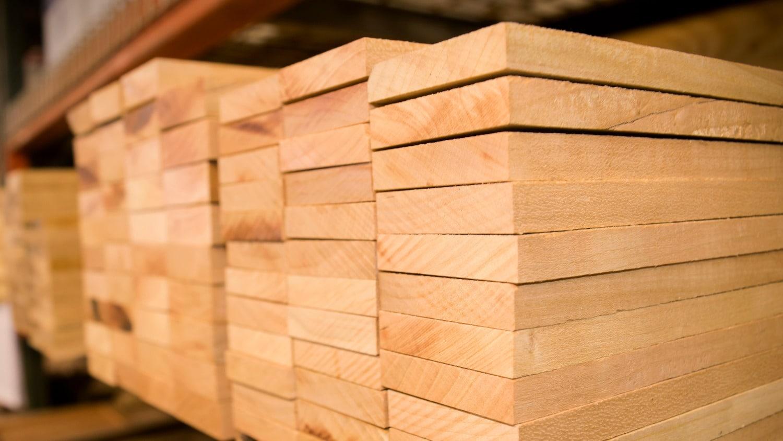 Stacks of lumber.