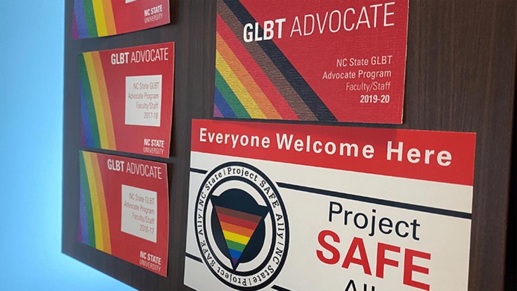 A GLBT Advocate placard on a door