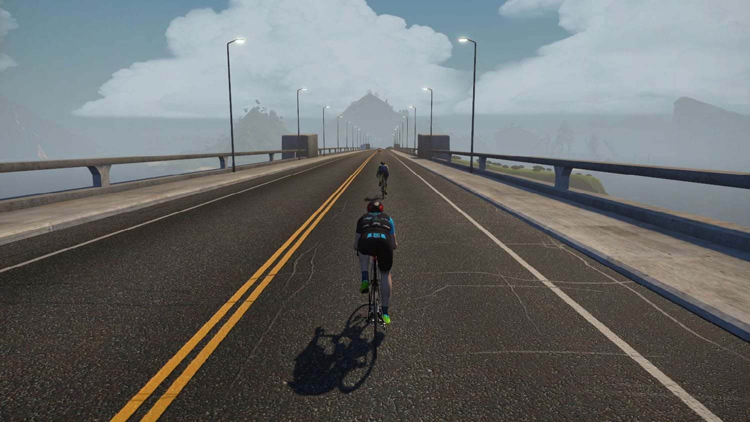 Image of a racer in a virtual Zwift race