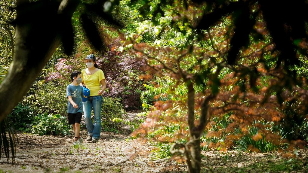 A woman and child walk through a garden at the JC Raulston Arboretum