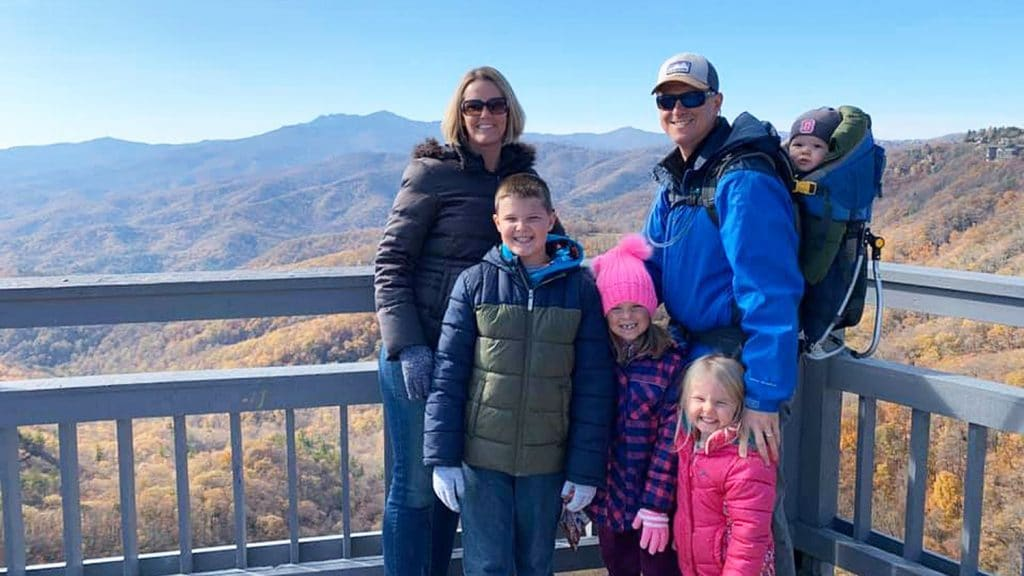 family standing at Blue Ridge Mountains overlook