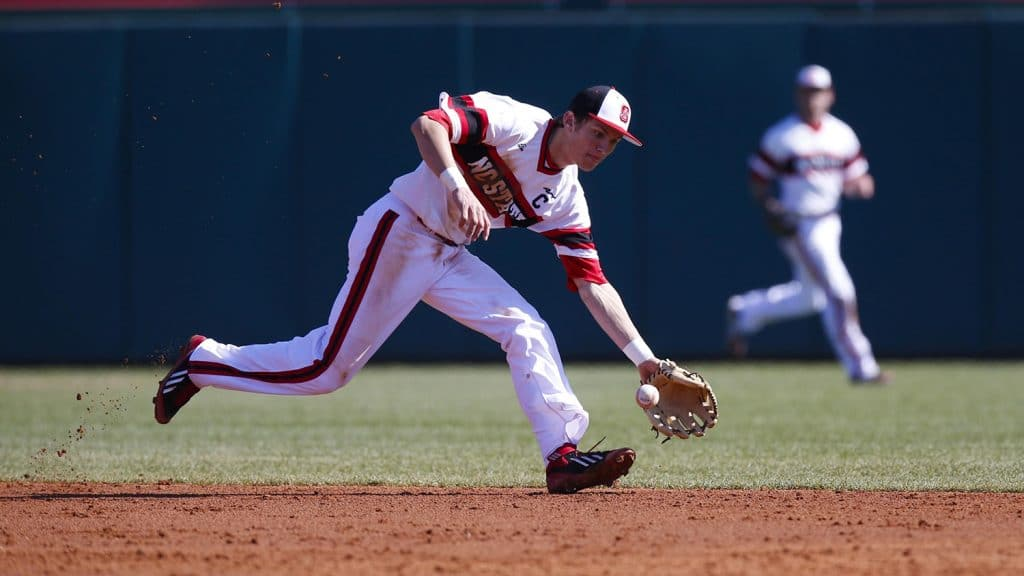 Turner making a play in the infield for NCState.