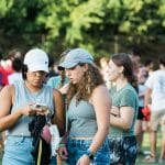 Students walk through Miller Fields during RecFest.
