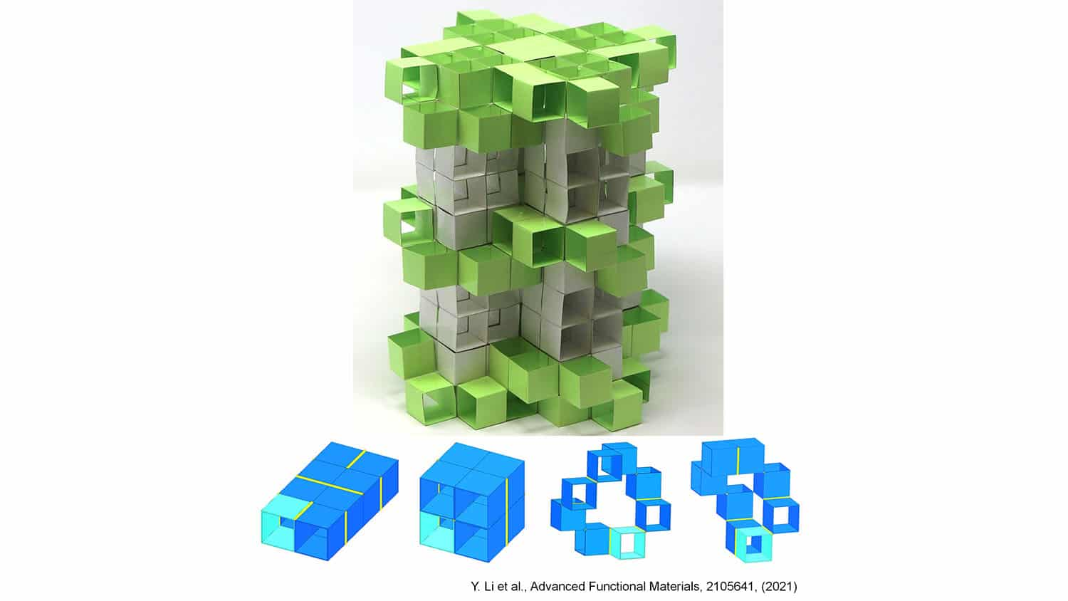 various shapes of metamaterial building blocks lie in front of a much larger structure made from similar blocks