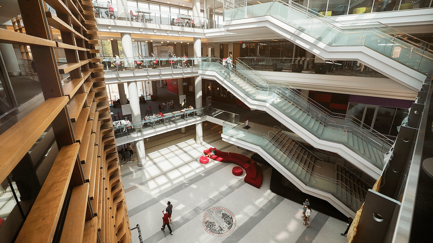 A view of the Talley Student Union atrium from the top floor.