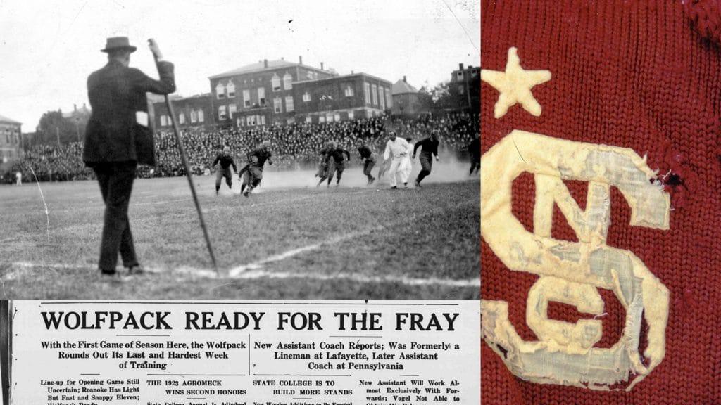 """NCState Wolfpack football runs a play in Riddick Stadium. A Technician headline reads """"Wolfpack Ready for the Fray."""" On the right, there is a soft, worn sweater with the NCState Block S and an embroidered star."""