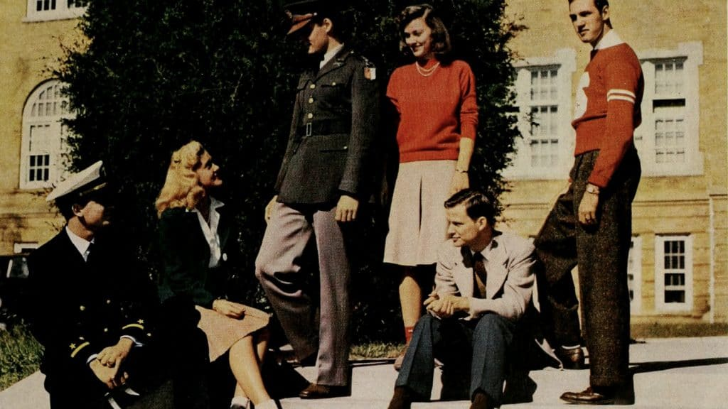 NCState students posing for a group shot on campus during the 1940s.
