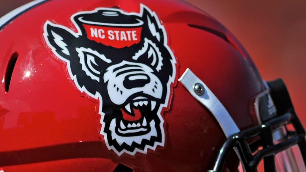 Current Wolfpack Tuffy head logo on a football helmet.