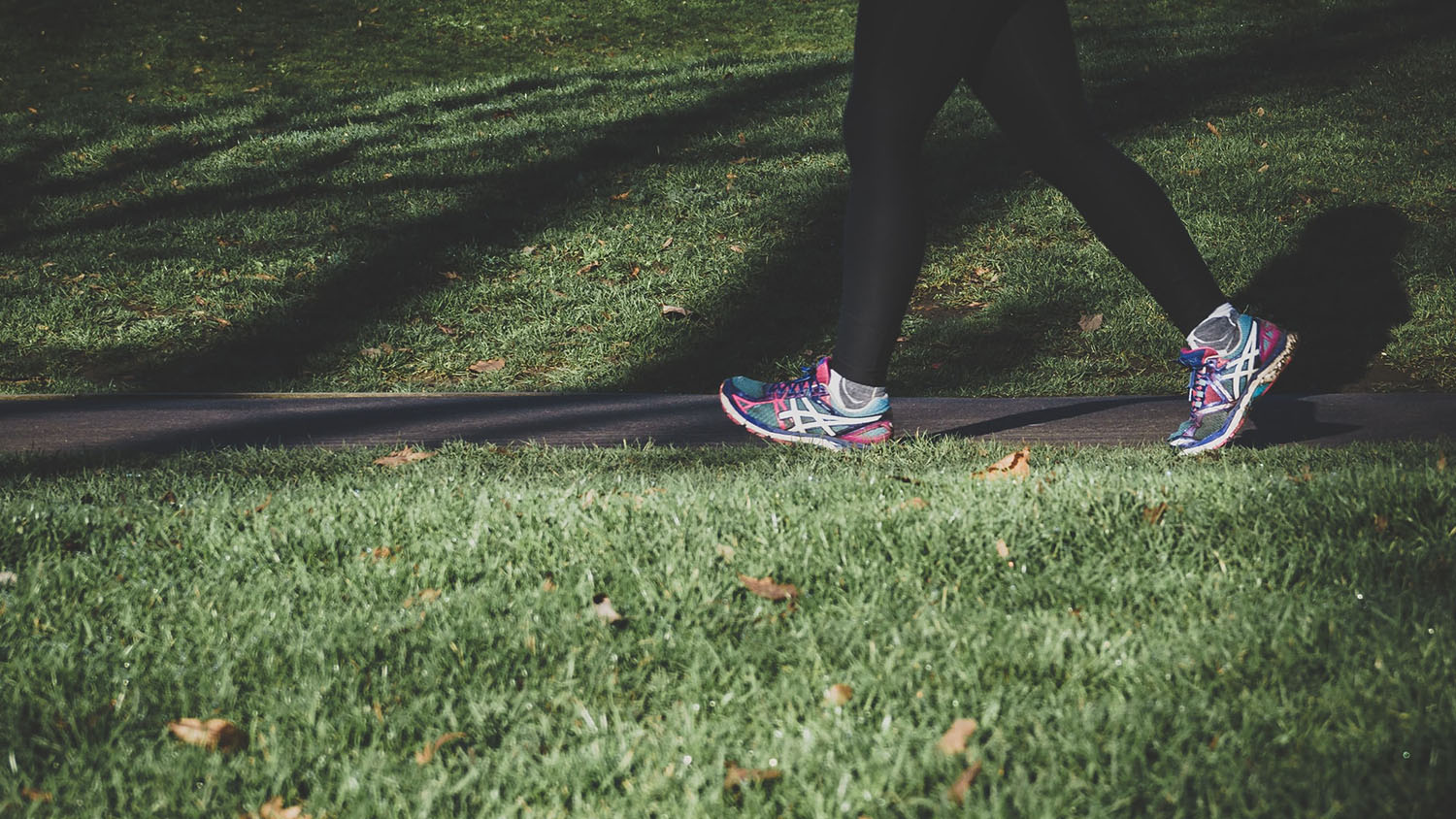 photo shows the legs of someone walking or running on a path in a park