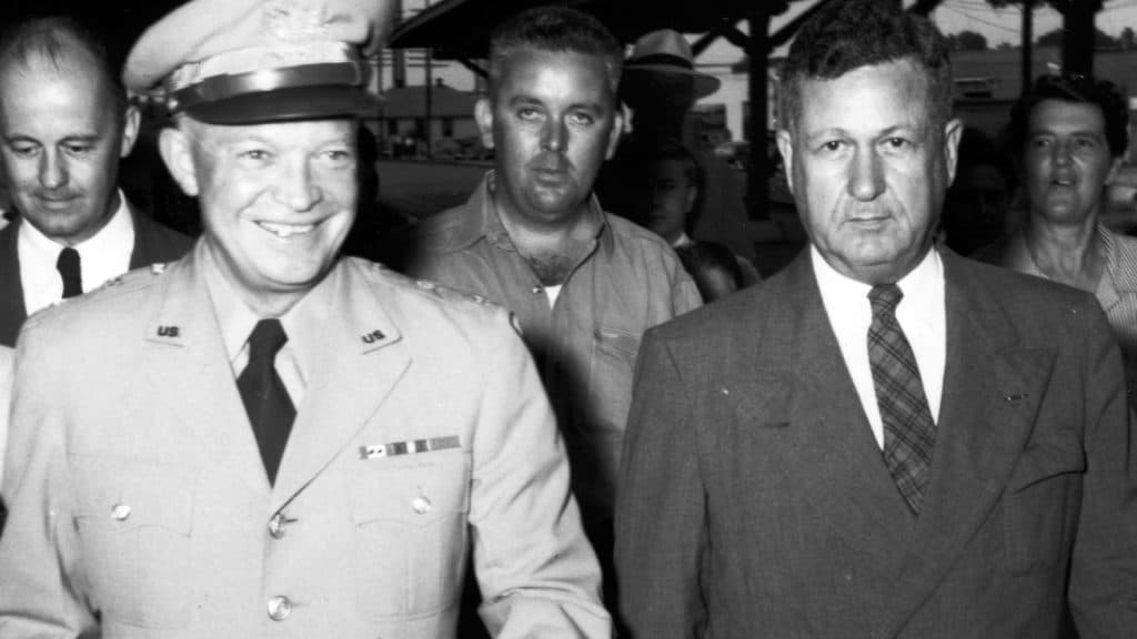 Gen. Dwight D. Eisenhower and Chancellor John William Harrelson at Farm and Home Week in 1947.
