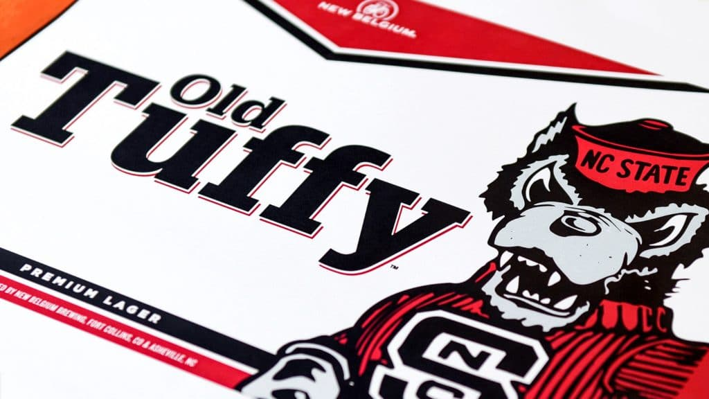 Packaging from a box of Old Tuffy Premium Lager.