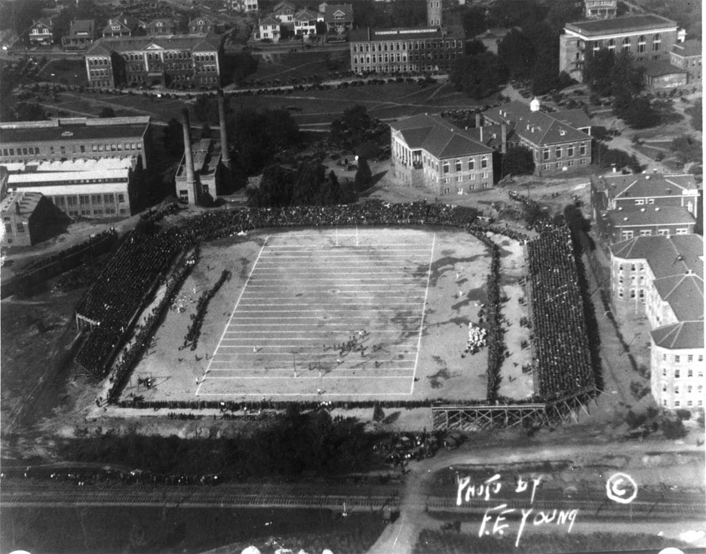 Aerial shot of NCState vs UNC-CH football game played at Riddick Stadium, ca. 1925.