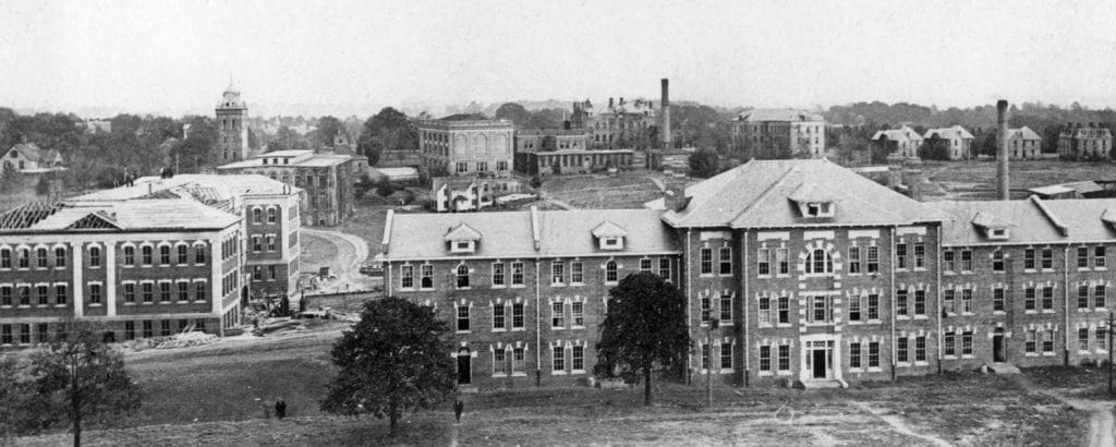A black and white aerial photo of campus from the early 1900s.