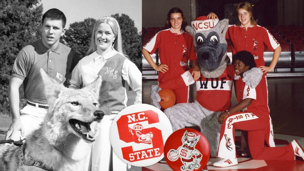 Throwback photos show student athletes wearing NCState apparel.