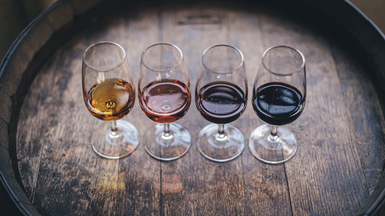 Four glasses with samples of wine for a tasting..